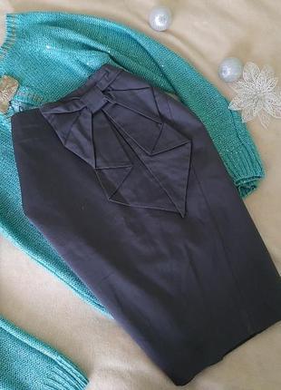 Трендовая юбка с бантом на высокой посадке