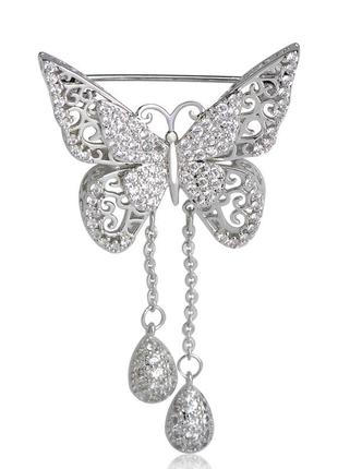 Брошь женская бижутерия с кристаллами насекомые бабочка br111026 серебристая