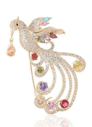 Брошь женская бижутерия с кристаллами птицы феникс br111023 разноцветная