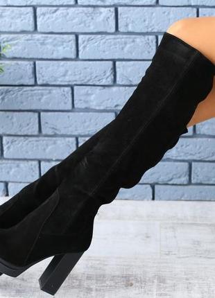 Lux обувь! шикарные натуральные зимние высокие сапоги на каблуке