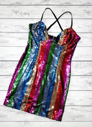 Шикарное платье в пайетках prettylittlething