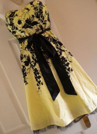 Платье миди в цветочный принт с фатином фатиновый волан желтое хлопковое платье
