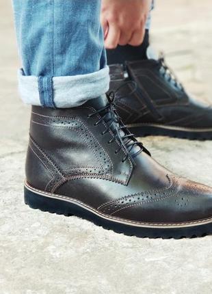 Зимние темно коричневые броги, мужские ботинки с натуральной кожи 40 -45 размеры.  chester