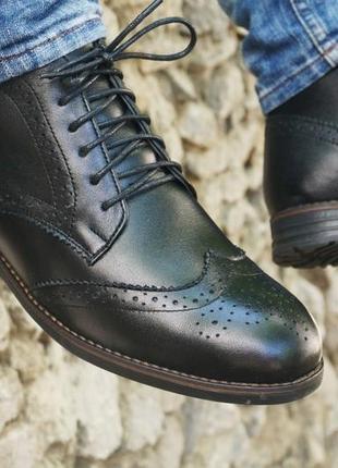 Зимние броги, мужские ботинки с натуральной кожи 40 -45 размеры черный