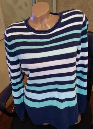 Теплый полосатый пуловер
