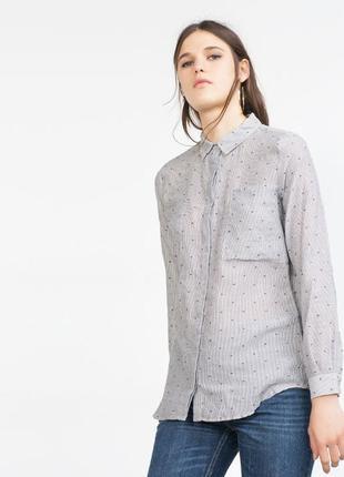 Актуальная рубашка в полоску с вышивкой от бренда zara basic dept denim z1975 turkey