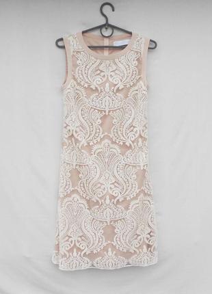 Роскошное изысканное дизайнерское  коктейльное вечернее расшитое платье barbara schwarzer