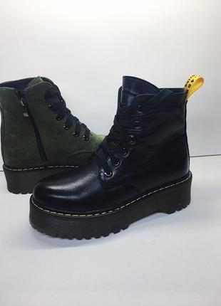 Ботинки dr. martens, натуральная кожа, зима