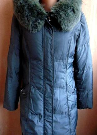Пальто пуховое 46-48 серое