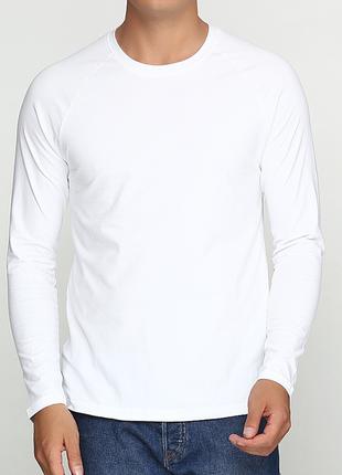 Базовый белый лонгслив реглан 100% хлопок размеры