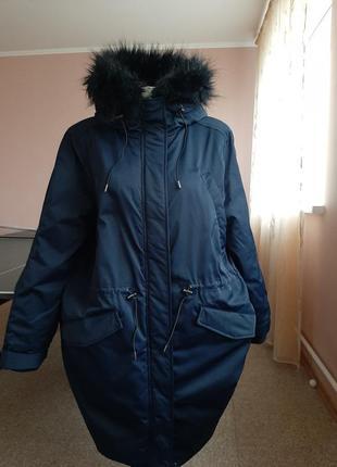 Теплющее качественное пальто-парка 50-52р.