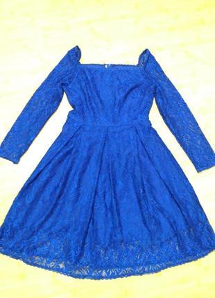 Платье гипюровое, синее. размер м.