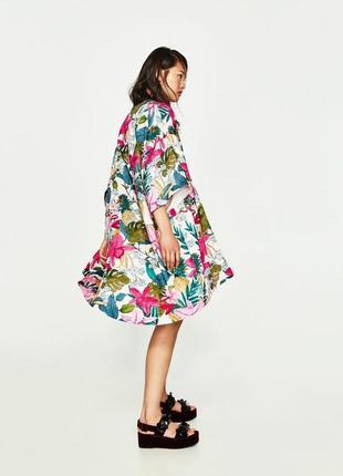 Накидка кимоно trf outerwear zara с тропическим цветочным принтом