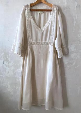 Платье туника в стиле бохо богемном этно мори с кружевом размер м