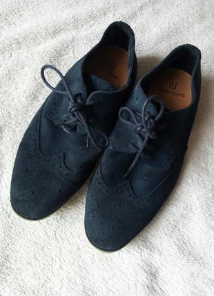 Синие кожаные замшевые туфли ботинки на шнурках натур замш кожа от river island