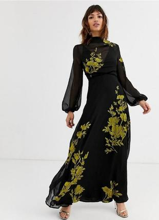 Розкішна чорна вишита шифонова сукня