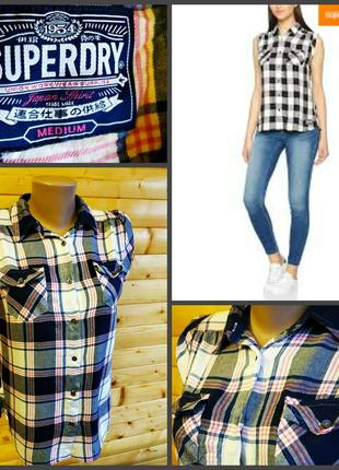 Трендовая  клетчатая рубашка блуза в клетку, бренд superdry, пр-во индия