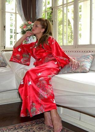 Роскошный шелковый халат кимоно в цветы, длинный