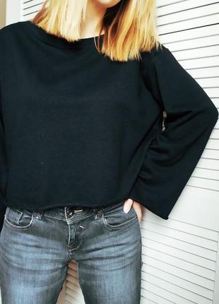 Свитшот спортивный кофта укороченный свитер кроп топ байка h&m