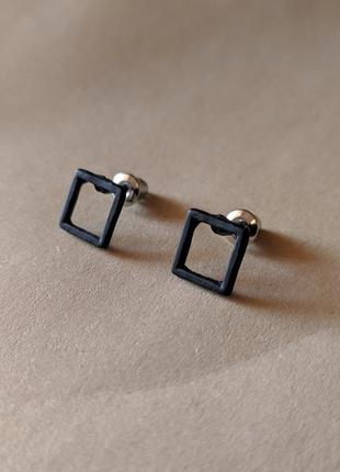 Минималистичные серьги-квадратики, квадратные минималистичные сережки-гвоздики