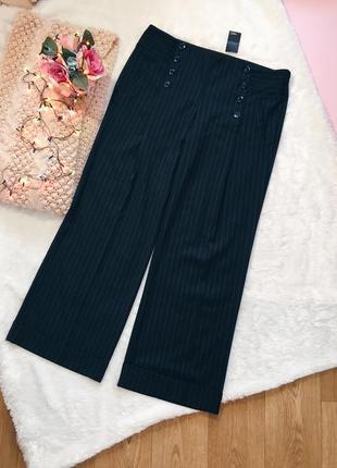 Черные классические плотные широкие штаны(брюки) в полоску