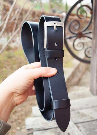 Долговечный кожаный ремень черный 3,5 см