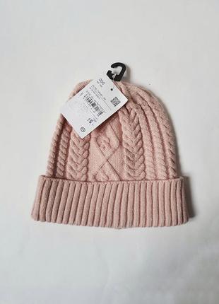 Новая с биркой шапка,милая шапка с узором косы,вискозная шапка,вязаная шапка германия