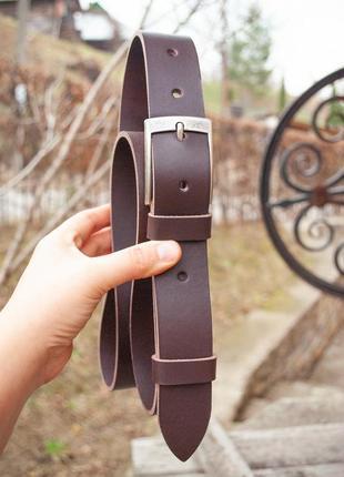 Качественный кожаный ремень коричневый 3,5 см под джинсы