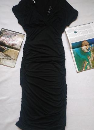 """Оригинальное чёрное длинное платье с прорезями на рукавах """"utg"""""""