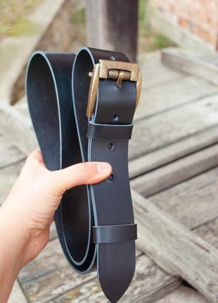 Черный кожаный ремень из итальянской кожи под джинсы 4 см