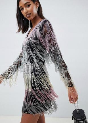 Asos design неймовірна декорована сукня бісер бахрома