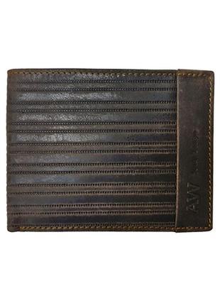 Вместительный мужской кожаный кошелек always wild коричневый