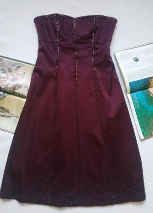 """Тёмно-фиолетовое атласное вечернее платье, расшитое бисером """"warehouse"""""""