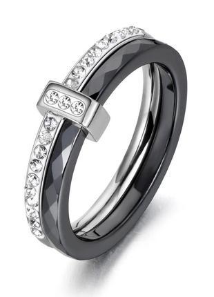 Женское двойное керамическое кольцо чёрное с камнями из циркония размер 16 и 17