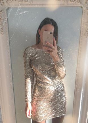 Золотое платье в паетки новогоднее нарядное
