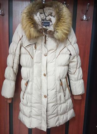 Зимний, теплый, брендовый, качественный, стеганный пуховик, пальто. бренд kuckuck