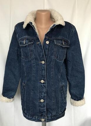 Куртка джинсовая удлиненная с мехом
