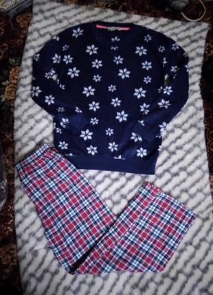 Женская теплая комбинированная пижама