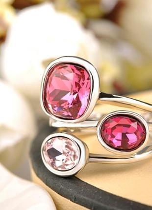 Шикарное массивное женское кольцо с яркими камнями / бижутерия серебристая 17, 18 размер