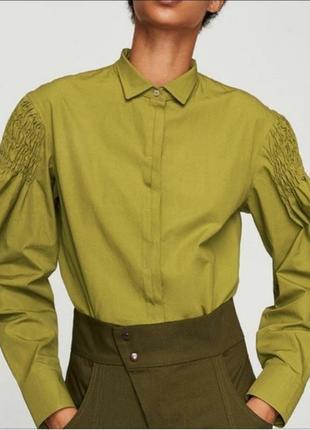 Оливковая рубашка блуза блузка с интересными рукавами хаки