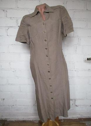 Платье-халат/рубашка льняное