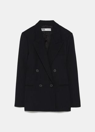 Двубортный пиджак темно-синего цвета zara women!