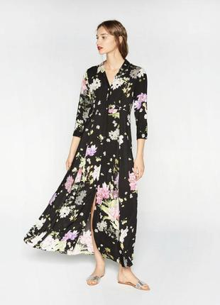 Шикарное платье в цветы в пол