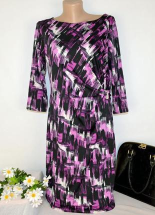 Брендовое пурпурное нарядное вечернее миди платье m&co болгария принт абстракция этикетка