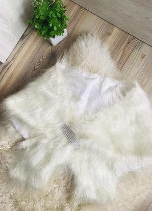 Роскошная нарядная меховая накидка болеро со стразами для невесты 👰