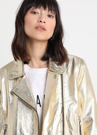 Новая кожаная куртка косуха freaky nation золото 100% кожа s и м золотая куртка