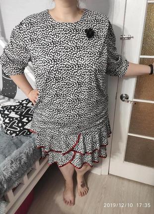 Красивенное платье с рюшами в стиле 70-х, 26 размер