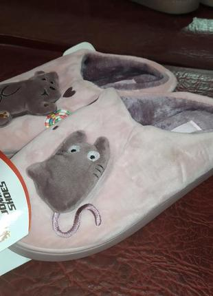 Мышка плюшевые домашние тапочки мягкие домашні капці