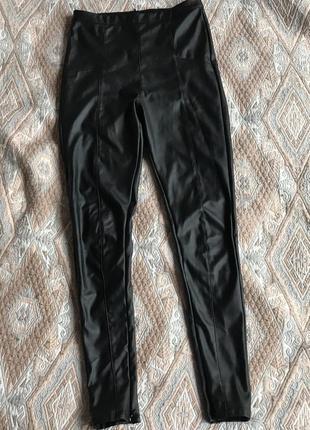 Кожаные штаны лосины чёрные 😍