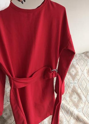 Платье свитшот красное с поясом 😍